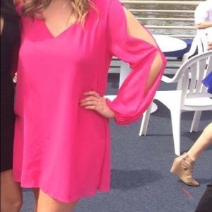 Hot pink formal dress with arm slits